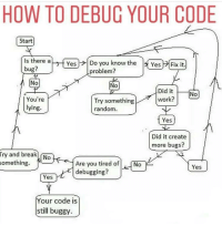 Work, Break, and How To: HOW TO DEBUC YOUR CODE  Start  Is there a  bug?  Yes l→ Do you know the  ly Yes HFix it.  problem?  No  No  Did it  work?  You're  lying.  Try something  random  Yes  Did it create  more bugs?  ry and break  something.  0  Are you tired ofNo  debugging?  Yes  Yes  Your code is  still buggy. Debugging code