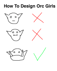 gaygothur: vestaphthesassyorc:  gaygothur: A handy guide I made WRONG SIR! You gotta give your female orcs petite and fit boobies, make them look asian af.and then give them all SASSY powers.That is how female orcs are born. -Vestaph the Sassy Orc  What the hell    I'm telling you the end times are near : How To Design Orc Girls gaygothur: vestaphthesassyorc:  gaygothur: A handy guide I made WRONG SIR! You gotta give your female orcs petite and fit boobies, make them look asian af.and then give them all SASSY powers.That is how female orcs are born. -Vestaph the Sassy Orc  What the hell    I'm telling you the end times are near