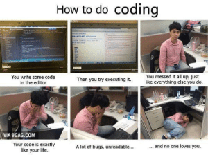 TooMeIrlForMeIrl: How to do coding  man  You messed it all up, just  like everything else you do.  You write some code  in the editor  Then you try executing it.  VIA 9GAG.COM  Your code is exactly  like your life.  ... and no one loves you.  A lot of bugs, unreadable... TooMeIrlForMeIrl