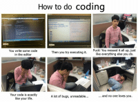 How to code in 6 easy steps: How to do coding  You write some code  in the editor  Fuck! You messed it all up, just  like everything else you do  Then you try executing it  Your code is exactly  like your life  A lot of bugs, unreadable...  and no one loves you How to code in 6 easy steps