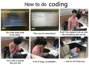 How to do coding: How to do codino  You write some code  in the editor  Fuck! You messed it all up, just  like everything else you do  Then you try executing it  Your code is exactly  like your life  A lot of bugs, unreadable...  and no one loves you How to do coding