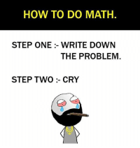 Be Like, Meme, and Memes: HOW TO DO MATH.  STEP ONE :- WRITE DOWN  THE PROBLEM  STEP TWO :- CRY Twitter: BLB247 Snapchat : BELIKEBRO.COM belikebro sarcasm meme Follow @be.like.bro
