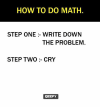 Memes, How To, and Math: HOW TO DO MATH.  STEP ONE :- WRITE DOWN  THE PROBLEM  STEP TWO:- CRY  MEEFY