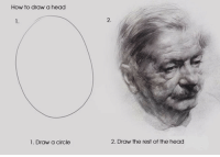 How To Draw A: How to draw a head  1.  2.  1. Draw a circle  2. Draw the rest of the head