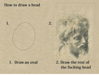 Easy peasy: How to draw a head  1. Draw an oval  Facebook.com Classica ArtMemes  2. Draw the rest of  the fucking head Easy peasy