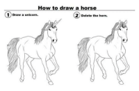 Unicorn: How to draw a horse  ①Draw a unicorn.  1 ) Draw a unicorn.  2) Delete the horn.