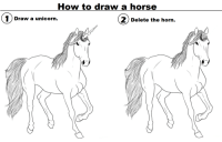 How To Draw A: How to draw a horse  1) Draw a unicorn.  2Delote the hom  elete the horn.