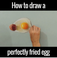 This is seriously impressive! 🙌🙌: How to draw a  perfectly fried egg This is seriously impressive! 🙌🙌