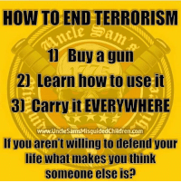Life, Memes, and How To: HOW TO END TERRORISM  1 Buy a gun  2 Learn how to use it  31 Carry it EVERYWHERE  www.UncleSamsMisquidedChildren.com  If you aren't willing to defend your  life what makes you think  someone else is?