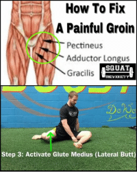 Here's a quick 3️⃣ step process to fixing groin pain 👇🏼 . Step 1️⃣: Grab a foam roller as shown with your leg propped on top. Stay close to your inner hip so you can hit the groin muscles. Too low and you'll end up on the inner part of your quads (VMO)❌. Roll SLOWLY for 2 minutes, pausing when you find a painful spot. You can then flex you leg up and down as shown✅ . Step 2️⃣: Lightly stretch your groin with the lateral lunge. Keep a vertical torso & a neutral pelvis (no anterior pelvic tilt!). I often see people do this stretch with a forward lean in their torso. This can often lead to stretching the hamstrings also, so by keeping you chest tall you can better focus on the groin ✅ . Step 3️⃣: we then want to activate the lateral glutes. When this area doesn't fire correctly (poor coordination) or is plain weak, it can lead to over reliance on the groin & pain. In the position shown, pick your knee off the floor SLIGHTLY. Lift it too much and it will cause your torso to tilt or side bend. This will then cause you to active your TFL & QL (a small muscle in your back) when we only want to focus on activating the glute medius. Keep your foot completely flat on the ground as well✅This should bring out a good 🔥in your lateral glutes. ___________________________________ Squat University is the ultimate guide to realizing the strength to which the body is capable of. The information within these pages are provided to empower you to become a master of your physical body. Through these teachings you will find what is required in order to rid yourself of pain, decrease risk for injury, and improve your strength and athletic performance. ________________________________ Squat SquatUniversity Powerlifting weightlifting crossfit training wod workout gym exercisescience fit fitfam fitness fitspo oly olympicweightlifting hookgrip nike adidas lift mobility: How To Fix  A Painful Groin  Pectineus  Adductor Longus  SQUAT  Gracilis  UNIVRHBITY  Step 3: Activate Glute Medius (Lateral Butt) Here's a quick 3️⃣ step process to fixing groin pain 👇🏼 . Step 1️⃣: Grab a foam roller as shown with your leg propped on top. Stay close to your inner hip so you can hit the groin muscles. Too low and you'll end up on the inner part of your quads (VMO)❌. Roll SLOWLY for 2 minutes, pausing when you find a painful spot. You can then flex you leg up and down as shown✅ . Step 2️⃣: Lightly stretch your groin with the lateral lunge. Keep a vertical torso & a neutral pelvis (no anterior pelvic tilt!). I often see people do this stretch with a forward lean in their torso. This can often lead to stretching the hamstrings also, so by keeping you chest tall you can better focus on the groin ✅ . Step 3️⃣: we then want to activate the lateral glutes. When this area doesn't fire correctly (poor coordination) or is plain weak, it can lead to over reliance on the groin & pain. In the position shown, pick your knee off the floor SLIGHTLY. Lift it too much and it will cause your torso to tilt or side bend. This will then cause you to active your TFL & QL (a small muscle in your back) when we only want to focus on activating the glute medius. Keep your foot completely flat on the ground as well✅This should bring out a good 🔥in your lateral glutes. ___________________________________ Squat University is the ultimate guide to realizing the strength to which the body is capable of. The information within these pages are provided to empower you to become a master of your physical body. Through these teachings you will find what is required in order to rid yourself of pain, decrease risk for injury, and improve your strength and athletic performance. ________________________________ Squat SquatUniversity Powerlifting weightlifting crossfit training wod workout gym exercisescience fit fitfam fitness fitspo oly olympicweightlifting hookgrip nike adidas lift mobility