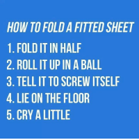 Fitted Sheet: HOW TO FOLDA FITTED SHEET  1. FOLDITIN HALF  2. ROLLIT UP IN A BALL  3. TELL IT TO SCREW ITSELF  4. LIE ON THE FLOOR  5. CRY A LITTLE