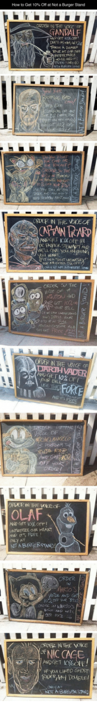 <p>This Restaurant Is Doing Things The Right Way.</p>: How to Get 10% Off at Not a Burger Stand  IN THE  TANDAL  ROW A DWARF  RESPELTABLE  FREE ION  The  ORDEP IN THE VOKEOF  APUN TCARD  ANDGET 10%OFF 111  ANR  WANT  ORDER IN THe -  ORDER IN THE VOICE OF  ANGE T 10% OFF  Jue BILU  FORE  ORVER IN THE VOKEOF  OLAF、  AND GET 10% OFF!  UNfi2EEZEOR HEART  AND ITS斥EE!  ONLY AT  NSTA BMRİERSTAND  ORDER  MARIO'S  NIC CAGE  ANDGET 10%Off!  AT <p>This Restaurant Is Doing Things The Right Way.</p>