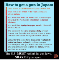 """Dank, Love, and Police: How to get a gun in Japan:  First, attend an all-day class and pass a written test.  Then swim to the bottom of the ocean and return  with a mollusk.  You must then marry the mollusk and prove that you  truly love the mollusk by smooching it on national  television.  You must then legally change your name to """"Romantic  Mollusk Kisser.""""  The police will then drop by unexpectedly several  times a year to make sure you are properly being  romantic and sexual with your mollusk spouse.  Only after the police have discovered you tenderly  making love to your mollusk three times can you  purchase your new gun, which contains a computer  chip that only allows it to shoot the mollusk, which  you love so, so much.  The U.S. MUST rethink its gun laws.  SHARE if you agree Wow."""