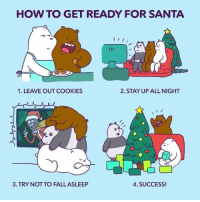 Cookies, Memes, and Couch: HOW TO GET READY FOR SANTA  I  1. LEAVE OUT COOKIES  2. STAY UP ALL NIGHT  O w  4. SUCCESS!  3 TRY NOT TO FALLASLEEP Who else wants to watch movies and pass out on the couch? 🐻🐼❄️😴🎄 webarebears christmaseve