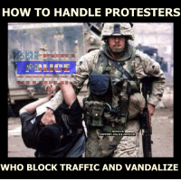 Can they get an AMEN.......: HOW TO HANDLE PROTESTERS  facebook  SUPPORT POLICE OFFICER  WHO BLOCK TRAFFICAND VANDALIZE Can they get an AMEN.......
