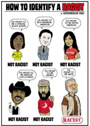 Native American, American, and Black: HOW TO IDENTIFY A RACIST  BY HEISENBURGER KING  I'M PROUD TO  BE A STRONG  BLACK WOMAN.  IM PROUD TO  BE A JAPANEGE  AMERİCAN.  I'M PROUD  TO BE NATIVE  AMERICAN  NOT RACIST  NOT RACIST  NOT RACIST  I'M PROUD TO  BE MEXICAN!  VIVA LA RAZA!  I'M PROUC  TO BE  ARABIC  I'M  PROUD TO  BE WHITE.  NOT RACIST NOT RACIST RACIST Because whites have overcome so much in this nation's history... 🙄