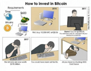 Me irl: How to invest in Bitcoin  Requirements  2010  2011  Time  $600  Bitcoins  Computer  Damn! You've spoiled it.  First, buy 10,000 BTC at $0.06 You sold them at $1.01. and spent all your  money on a used car  2017  The bitcoins are now worth  You could have been set for life.  All you have is a fucking 2003  Ford Taurus  $178 Million.  AlecTheBunny & MOLG H Me irl