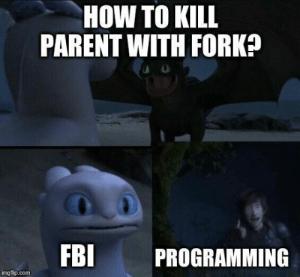 Does it work?: HOW TO KILL  PARENT WITH FORK?  FBI  PROGRAMMING  imgflip.com Does it work?