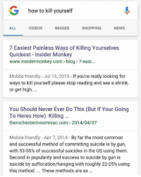 easiest painless ways of killing yourselves