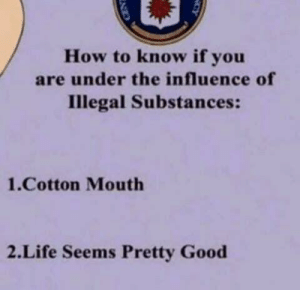 life is good sometimes: How to know if you  are under the influence of  Illegal Substances:  1.Cotton Mouth  2.Life Seems Pretty Good life is good sometimes