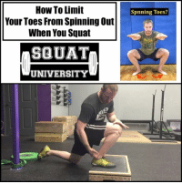 Adidas, Gym, and Memes: How To Limit  Your Toes From Spinning Out  When You Squat  SBUAT  UNIVERSITY  Spnning Toes? Do your toes spin out when you squat? Let's talk about how to fix this problem (FULL 8 MINUTE VIDEO LINKED IN BIO!) 👇🏼 . There are 3 main reasons your toes may spin out as you squat: ankle stiffness, poor foot stability & limited hip internal rotation. In today's video we discuss how to fix each of these issues to help you improve your movement quality✅ . 1️⃣Ankle Mobility: this could include banded joint mobilizations, foam rolling the calf muscles and stretches 2️⃣Foot Stability: jamming your big toe into the ground can help limit any rotation & solidify your foot position. 3️⃣Hip Mobility: limited hip internal rotation will cause your hip to spin off into the position of least resistance (external rotation) which spins your foot to the side. The W stretch can be a great stretch to improve this mobility . Check out the video linked in my bio for a full description of these other exercises not shown & how you can test to find which areas YOU need to focus on! _________________________________ Squat University is the ultimate guide to realizing the strength to which the body is capable of. The information within these pages are provided to empower you to become a master of your physical body. Through these teachings you will find what is required in order to rid yourself of pain, decrease risk for injury, and improve your strength and athletic performance. ________________________________ Squat SquatUniversity Powerlifting weightlifting crossfit training wod workout gym fit fitfam fitness fitspo oly olympicweightlifting hookgrip nike adidas lift prehab fitnessmotivation crossfitter