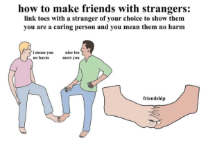 meirl: how to make friends with strangers:  link toes with a stranger of your choice to show them  caring person and you mean them no harm  you are a  i mean you  nice toe  meet you  no harm  friendship meirl