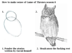 just fill in the blanks, do you really need everything spoon fed?!: How to make sense of Game of Thrones season 8  1.  1. Ponder the stories  written by David Benioff  2. Headcanon the fucking rest  2. just fill in the blanks, do you really need everything spoon fed?!