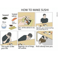 nobody love: HOW TO MAKE SUSHI  Smoked  Seaweed Salmon  Rice  Soy  sauce  First, roll the salmon in rice. Holy shit, you ruined everything.  Like everything you do  Then.  This sushi is like  Begining a lot of things, And nobody loves you.  left undone  your life