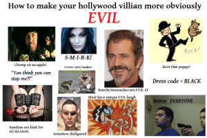 'How to make your Hollywood villain more obviously EVIL' starterpack: 'How to make your Hollywood villain more obviously EVIL' starterpack