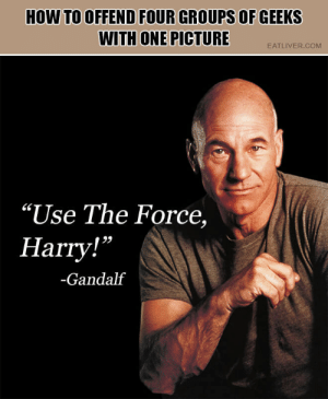"It's funny because the photo is of Dr Who: HOW TO OFFEND FOUR GROUPS OF GEEKS  WITH ONE PICTURE  EATLIVER.COM  ""Use The Force,  Harry!""  -Gandalf It's funny because the photo is of Dr Who"