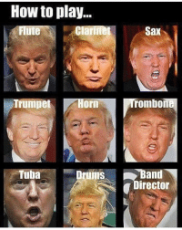 I'm not going to share my political opinion because I know some people will challenge me so I'm just going to post this picture: How to play...  Clarinet  Sax  ute  Trumpet  orn  rombone  and  Drums  Tuba  irector I'm not going to share my political opinion because I know some people will challenge me so I'm just going to post this picture