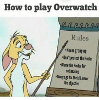 Meme, Memes, and Nintendo: How to play Overwatch  Rules  Never group up  Don't protect the Healer  Blame the Healer For  not healing  Always go for the kill never  the objective Goodnight, hopefully everyone enjoyed their day :D ➖ Check Out The Homies! ➖ @bunnyrages ➖ @itsiihades @glizzly_ ➖ @exitz_ @gamersbanter ➖ @mr.aloharice @bloodransom ➖ @xoprettynpinkxo @senseisdarksiders ➖ @lil_twink__ ➖ CoD CallOfDuty VideoGames Nintendo Xbox XboxOne PlayStation PS4 Meme BO3 BlackOps BlackOps3 GamerMeme InfiniteWarfare CoD4 CallOfDuty4 CoDMeme GamingClip Gamer BO3 BlackOps3 VideoGameMeme Gaming Games Game