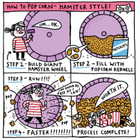 Memes, Hamster, and Popcorn: How To POP CORN HAMSTER STYLE! O  Jm... OK  STEP 1- BUILD GIANT  STEP 2 FILL WITH  HAMSTER WHEEL  POPCORN KERNELS  STEP 3- RUN  ING AS  FAST A CA  poP  STEP 4 FASTER!!!!!!!! PROCESS coMPLETE How would you pop your popcorn kernels? Let @metcalfesskinny know on their page and you could win an illustrated framed print by me! popitlikeitsmetcalfes ad