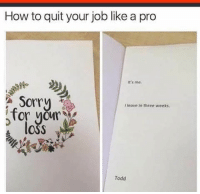 Dank, Sorry, and How To: How to quit your job like a pro  It's me.  Sorry  leave in three weeks.  for your  OSS  Todd