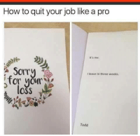 Sorry, Condolences, and How To: How to quit your job like a pro  It's me.  Sorry  I leave in three weeks  for yor  OSS  Todd my sincerest condolences