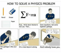 Life, Memes, and How To: HOW TO SOLVE A PHYSICS PROBLEM  F=ma  Pencil Eraser  Paper  First, Write down Newton's  2nd Law. Then.  Solve equations. Get some  algebraic garbage.  1.15  141)  This garbage is like your  life.  soMng. And nobody loves you.  And nobody loves you.  It's a mess beyond solving. Credit: Pairode Jaroensri