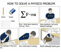 Life, Memes, and How To: HOW TO SOLVE A PHYSICS PROBLEM  Pencil Eraser  Paper  First, Write down Newton's  2nd Law. Then...  Solve equations. Get some  algebraic garbage.  (81) cl  2412  This garbage is like your  life.  And nobody loves you.  It's a mess beyond solving.