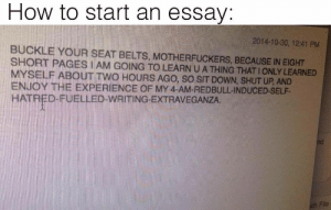 Shut Up, Buckle, and How To: How to start an essay:  2014-10-30, 12:41 PM  BUCKLE YOUR SEAT BELTS, MOTHERFUCKERS, BECAUSE IN EIGHT  SHORT PAGES I AM GOING TO LEARN U A THING THAT I ONLY LEARNED  MYSELF ABOUT TWO HOURS AGO, SO SIT DOWN, SHUT UP, AND  ENJOY THE EXPERIENCE OF MY 4- AM. REDE  HATRED-FUELLED-WRITING-EXTRAVEGANZA  ULLINDUCED-SELF-  nd  ch File