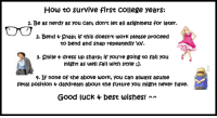 None Of The Above: How to survive first college years:  1. Be as nerdy as you can; don't let all asignmets for later.  2. Bend + Snap; if this doesnt work please proceed  to bend and snap repeatedly \of.  3. Smile  dress up sharp; if you're going to fail you  might as well fail with style ;  4. If none of the above work, you can always asume  fetal position 4 daydream about the future you might never have.  Good luck 4 best wishes! a