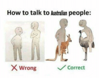 Dank, Memes, and How To: How to talk to Australian people:  X Wrong  Corredt ---------------------------------------- For more dank memes to satisfy your dank needs, follow @HeroofSkyloft