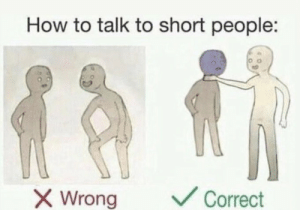 Correct: How to talk to short people:  V Correct  X Wrong