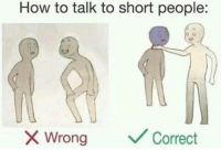 How To, MeIRL, and How: How to talk to short people:  Wrong  Correct meirl