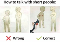 Dank, How To, and 🤖: How to talk with short people:  X Wrong  / Correct 😂😂