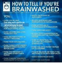 You've been brainwashed into believing that you can't be brainwashed. 4biddenknowledge Music is Zzzz by @DonnyArcade feat @starfoxredclouds. @PantheonEliteRecords @teana_n_ashley_aka_nova @_crewzthroughlife_ WeGotNext: HOW TO TELL IF YOU'RE  e BRAINWASHED  RECITE THE PLEDGE OF  YOU.  ALLEGIANCE  BELIEVE IN BORDERS AND  THINK YOU'RE FREE  Think eating meatisgood for you  SEGREGATION OF POPULATIONS  and not destroying the planet  THINK SCHOOLING IS  SYNONYMOUS WITH EDUCATION  THINK FLUORIDE IS THERE  FOR YOUR DENTALHEALTH  THINK GMOS ARE GOOD  THINK VACCINES ARE GIVEN  BLINDLY TRUST PHARMACEUTICAL  TO PROTECT YOU  COMPANIES AND THE HEALTH CARE  SYSTEM  THINK MILITARY IS THERE TO  PROTECT FREEDOMS  THINK IT'S BENEFICIAL TO  CUT PARTS OF CHILDREN'S  THINK YOUR VOTE MATTERS  GENITALS OFF  THINK THERE'S A DIFFERENCE  BETWEEN DEMOCRATS AND  THINK YOU ARE A PATIENT INSTEAD  REPUBLICANS  OF A CUSTOMER  FOLLOW RELIGION OR THINK IT HAS  THINK THE PRESIDENT IS  ANYTHING OTHER THAN A  ANYTHING TO DO WITH SPIRITUALITY  PUPPET  WATCH MAINSTREAM NEWS  THINK FOREIGINTERRORISTS  PERPETRATED ATTACKS ON 9/11 DONTASK QUESTIONS You've been brainwashed into believing that you can't be brainwashed. 4biddenknowledge Music is Zzzz by @DonnyArcade feat @starfoxredclouds. @PantheonEliteRecords @teana_n_ashley_aka_nova @_crewzthroughlife_ WeGotNext