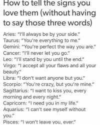 """Crazy, Life, and Love: HOW to tell the Signs you  love them (without having  to say those three words)  Aries: """"I'll always be by your side.""""  Taurus: """"You're everything to me.""""  Gemini: """"You're perfect the way you are.""""  Cancer: """"I'll never let you go.""""  Leo: """"I'll stand by you until the end.""""  Virgo: """"I accept all your flaws and all your  beauty.  Libra: """"I don't want anyone but you.'  Scorpio: """"You're crazy, but you're mine.""""  Sagittarius: """"I want to kiss you, every  morning and every night.""""  Capricorn: """"I need you in my life.  Aquarius: """"I can't see myself without  you  Pisces: """"I won't leave you, ever.'"""