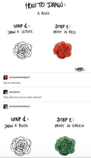 How To, Okay, and Paint: HOw-To TRAW  A RoSe  STEP A:  STEP :  PAINT IN RED  toodrunktofindaurl  You're welcome.  alorabora  Okay. But how do you draw lettuce?  toodrunktofindaurl  STEP A  STEP 1:  PAİNT IN GREEN Beep beep lettuce