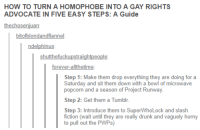 "Drunk, Horny, and Tumblr: HOW TO TURN A HOMOPHOBE INTO A GAY RIGHTS  ADVOCATE IN FIVE EASY STEPS: A Guide  thechosenjuan  bitofblondandflannel  ndelphinus  shutthefuckupstraightpeople  forever-allthetime  Step 1: Make them drop everything they are doing for a  Saturday and sit them down with a bowl of microwave  popcorn and a season of Project Runway  Step 2: Get them a Tumblr.  Step 3: Introduce them to SuperWhoLock and slash  fiction (wait until they are really drunk and vaguely horny  to pull out the PWPs) <p><a href=""https://libertybill.tumblr.com/post/173651291057/this-is-a-3-step-guide-to-causing-a-mass-shooting"" class=""tumblr_blog"">libertybill</a>:</p>  <blockquote><p>This is a 3 step guide to causing a mass shooting.</p></blockquote>"