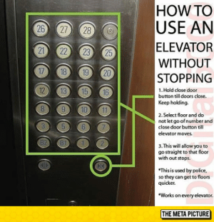srsfunny:It Works On Every Elevator: HOW TO  USE AN  ELEVATOR  WITHOUT  STOPPING  20  12  1. Hold close door  button till doors close.  Keep holding.  2. Select floor and do  not let go ofnumber and  close door button till  elevator moves.  3. This will allow you to  go straight to that floor  with out stops.  This is used by police,  so they can get to floors  quicker.  Works on every elevator.  THE META PICTURE srsfunny:It Works On Every Elevator