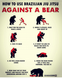 Fall, Memes, and Bear: HOW TO USE BRAZILIAN JIU JITSU  AGAINST A BEAR  1. WAIT FOR THE BEAR TO  2. WHEN IT ATTACKS, DUCK  MAKE A MOVE  AND SHOOT IN  3. TAKE ITS BACK  4. IT WON'T BE ABLE TO  REACH YOU WITH ITS  SHORT ARMS  6. WHEN THE BEAR PASSES  5. GO FOR A REAR-NAKED  CHOKE  OUT, IT WILL FALL  FORWARD. YOU DID IT!  7. NOW SNAP OUT OF YOUR  FANTASY AND REALIZE YOU DIED  SOMEWHERE AROUND STEP 2  BEARMAGEDDONH
