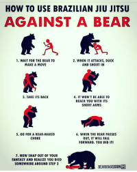 Fall, Friends, and Funny: HOW TO USE BRAZILIAN JIU JITSU  AGAINST A BEAR  1. WAIT FOR THE BEAR TO  2. WHEN IT ATTACKS, DUCK  MAKE A MOVE  AND SHOOT IN  3. TAKE ITS BACK  4. IT WON'T BE ABLE TO  REACH YOU WITH ITS  SHORT ARMS  5. GO FOR A REAR-NAKED  6. WHEN THE BEAR PASSES  CHOKE  OUT, IT WILL FALL  FORWARD. YOU DID IT!  7. NOW SNAP OUT OF YOUR  FANTASY AND REALIZE YOU DIED  SOMEWHERE AROUND STEP 2  BEARMAGEDDONISi Lmaioooooov➡️ Follow @Dagenius_Jay33 FOR MORE ¯\_(ツ)_-¯ tag 3 friends to see this! dageniuscomedy @idontfuckwithyou1982 jay funny reblog retweet follow follow followme followers follower nyc newyork queensnyc nycqueens nycbrooklyn followhim lmao comment comments commentbelow popular instagood iphonesia nyc instamood picoftheday bestoftheday
